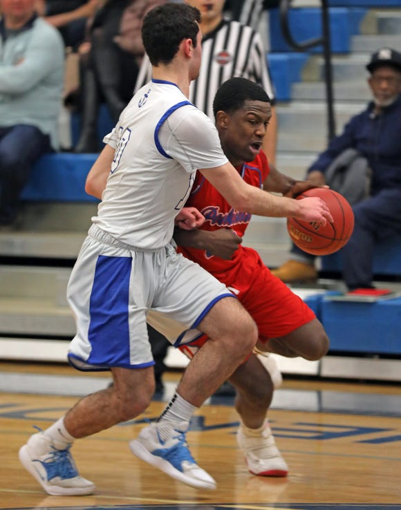 Peekskill's Shion Darby (3) during boys basketball game at Hendrick Hudson High School on Jan. 24, 2019. Peekskill defeats Hendrick Hudson 62-56