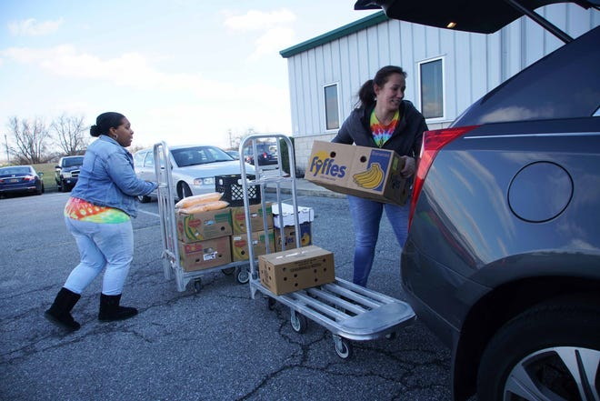 Workers at the Food Bank of Delaware in Milford.