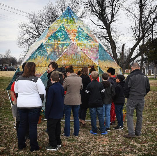More than 50 fifth graders from Olney Elementary enjoyed a field trip to Wichita Falls Friday, stopping first at the Wichita Dome art installation at Nexus Square.