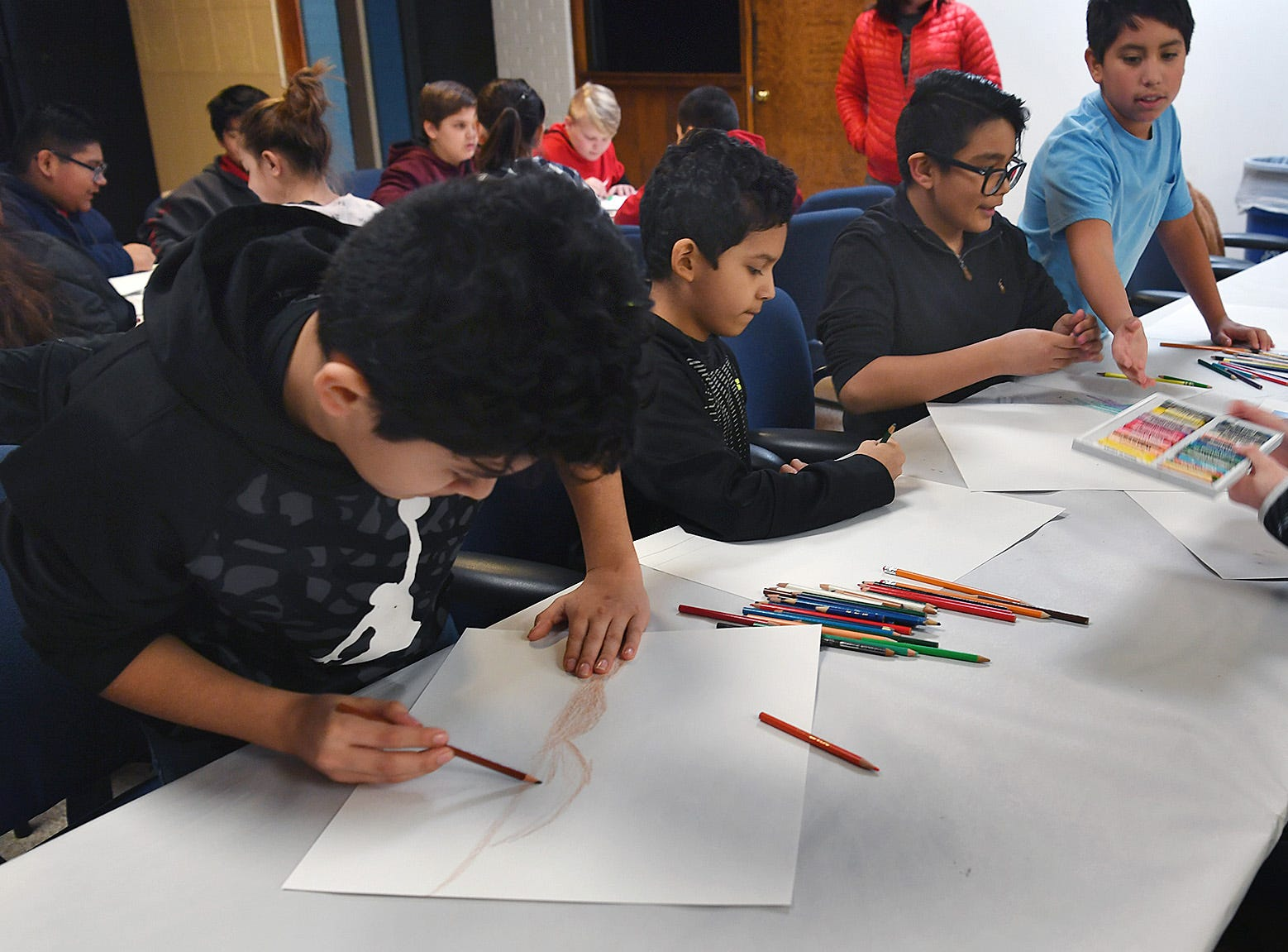 Olney Elementary fifth graders create art projects during a field trip to Wichita Falls Friday.