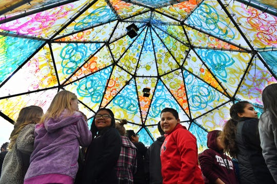 Fifth graders from Olney Elementary learned about art and Native American culture during a visit to the Wichita Dome at Nexus Square.