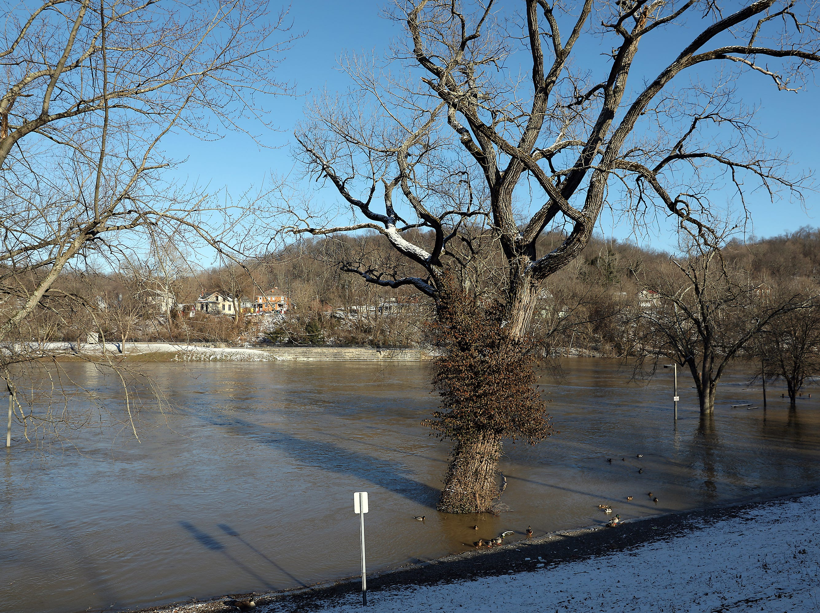 Putnam Landing Park is mostly underwater Friday afternoon.
