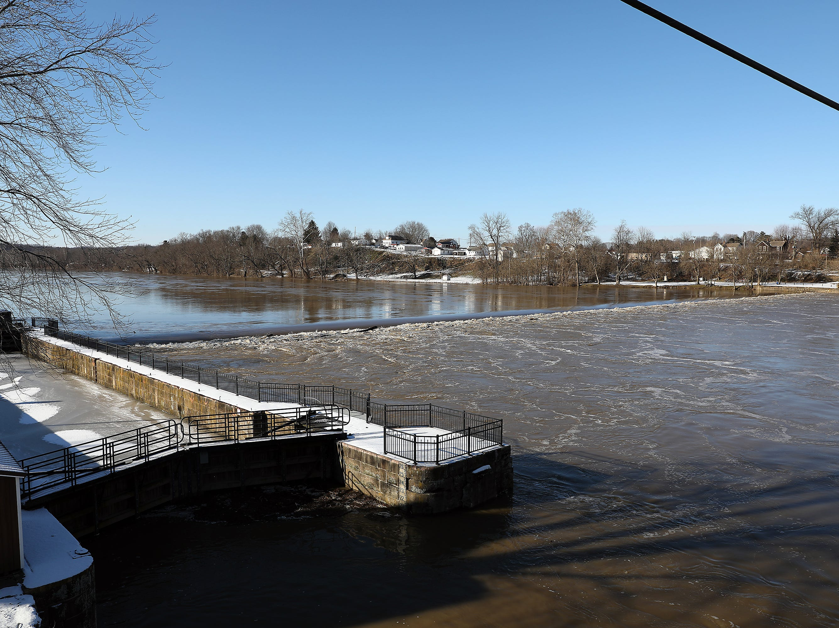 The Muskingum thunders over the dam at Philo Friday afternoon.