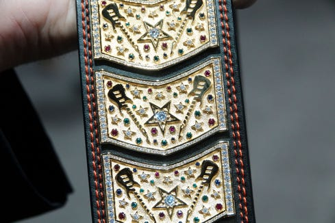 Closeup of the jewels and gold in the $1.2 million guitar strap from The Guitar Strap Co. of Australia