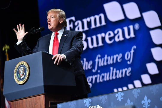 President Donald Trump addresses the annual American Farm Bureau Federation convention in the Ernest N. Morial Convention Center in New Orleans on Jan. 14. Trump told the gathering that he would help farmers get more temporary workers.