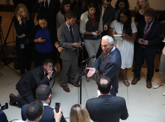 Roger Stone, former confidant to President Trump, speaks to the media after appearing before the House Intelligence Committee during a closed door hearing, September 26, 2017 in Washington.