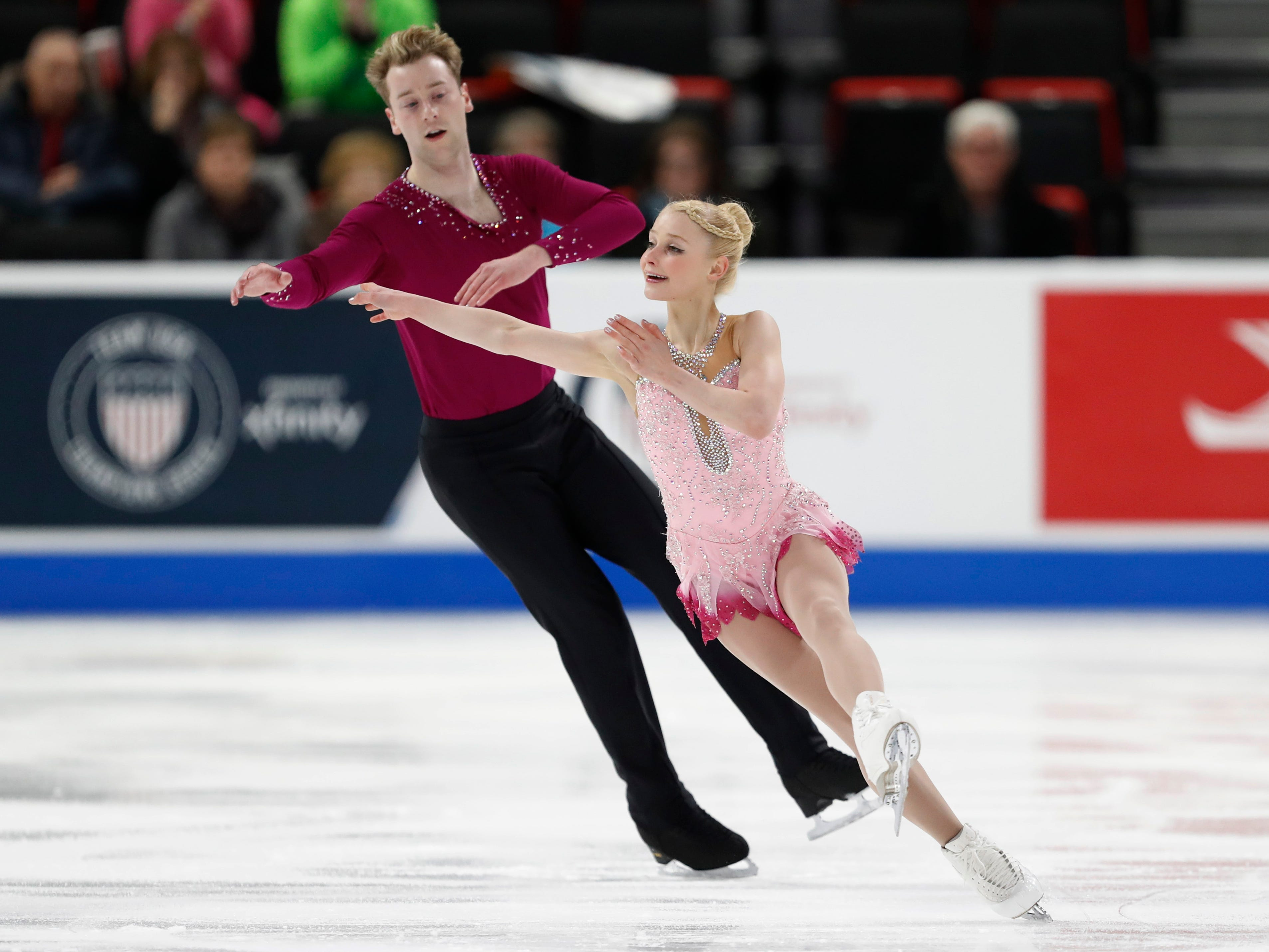 Nica Digerness and Danny Neudecker perform in the pairs short program.