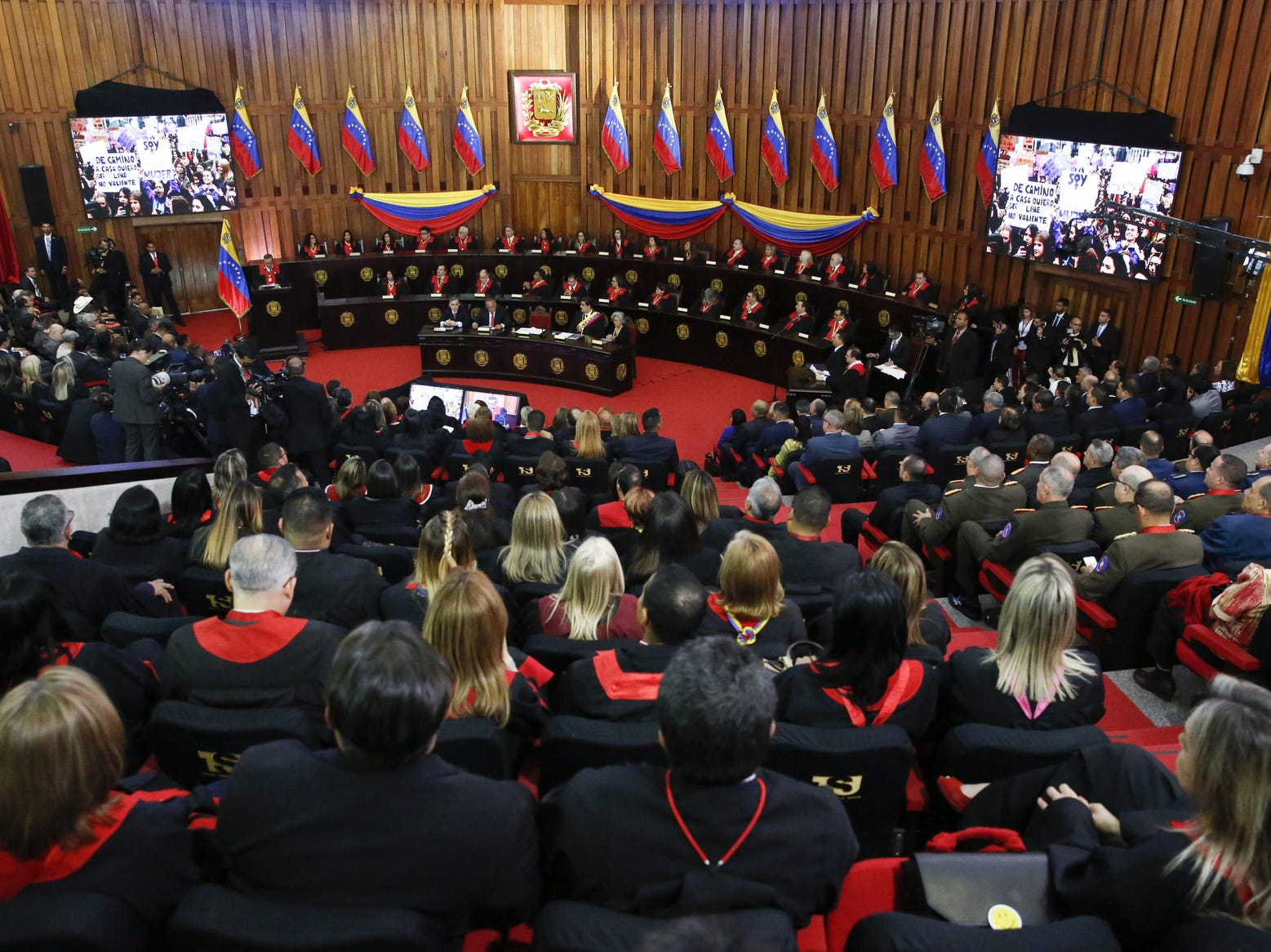 General view of the Supreme Justice Tribunal of Venezuela before the speech of Nicolás Maduro on the annual opening day of sessions in Caracas, Venezuela. Several countries including US, France and Brazil accepted Guaidó as the legitimate temporary ruler of the country. In response, Nicolás Maduro urged American diplomats to leave Venezuela in 72 hours breaking diplomatic relationships.