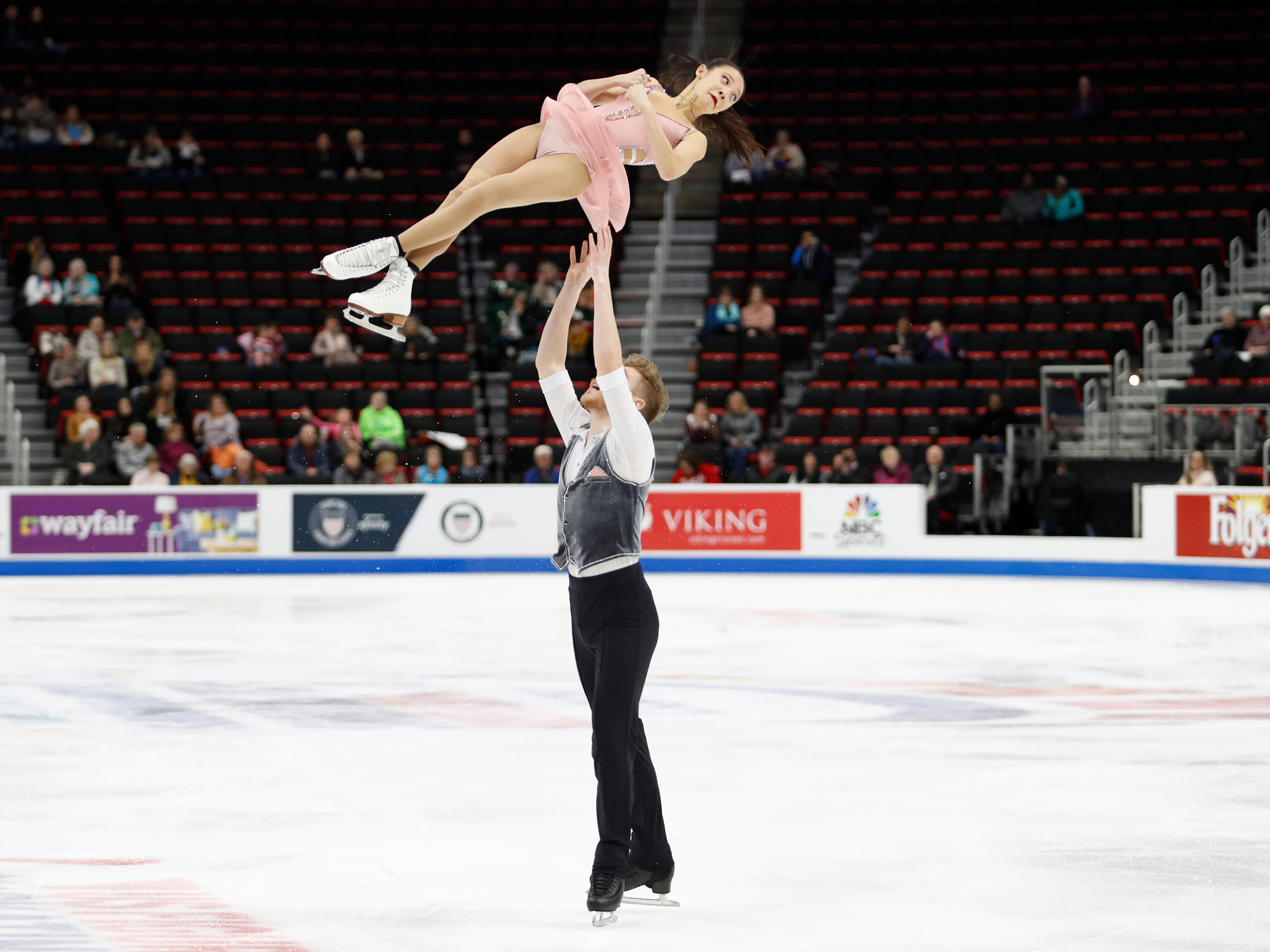 Chelsea Liu and Ian Meyh perform in the pairs short program.