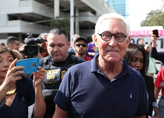 Roger Stone, a former advisor to President Donald Trump, leaves the Federal Courthouse on Jan. 25, 2019 in Fort Lauderdale, Florida.