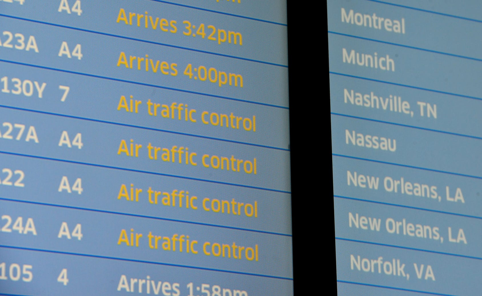 The arrivals board shows air traffic control delays at Newark Airport. Some traveller experienced the effects of the Federal shutdown while traveling in and out of the airport in Newark, Friday, Jan. 25, 2019.