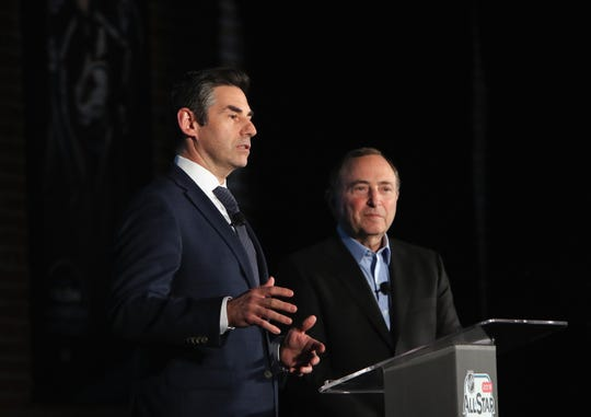 Mathieu Schneider of the NHLPA and NHL Commissioner Gary Bettman attend a news conference during NHL All Star weekend.