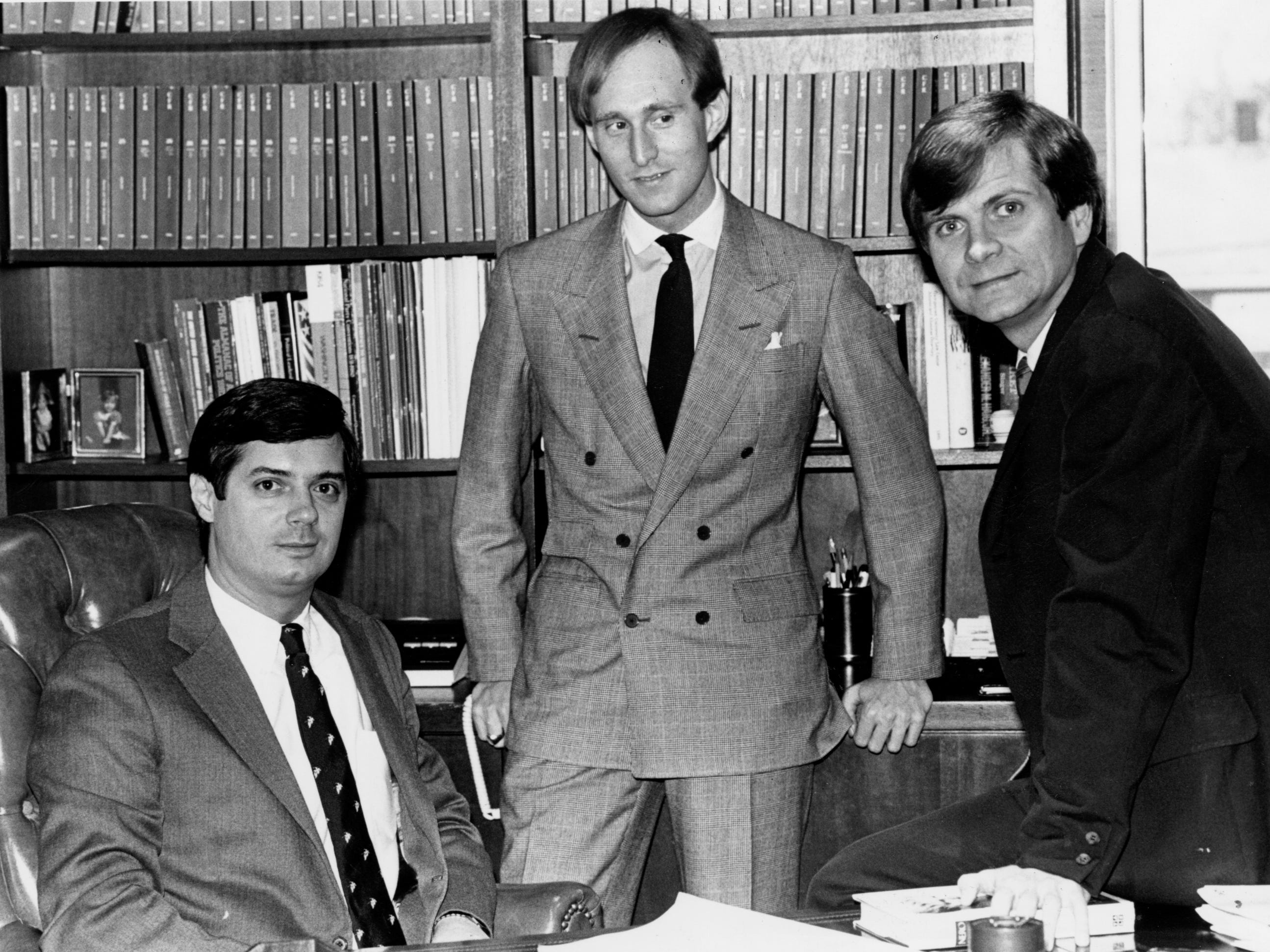 Republican political operatives Paul Manafort, Roger Stone and Lee Atwater pose for a portrait on March 21, 1989.
