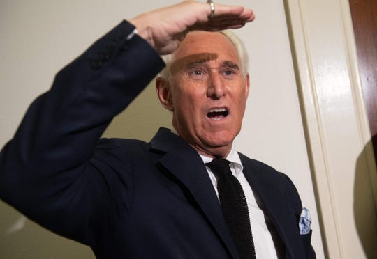 Political Strategist Roger Stone stands outside the hearing room prior to testimony by Google CEO Sundar Pichai during a House Judiciary Committee hearing on Capitol Hill in Washington, DC, on Dec. 11, 2018.