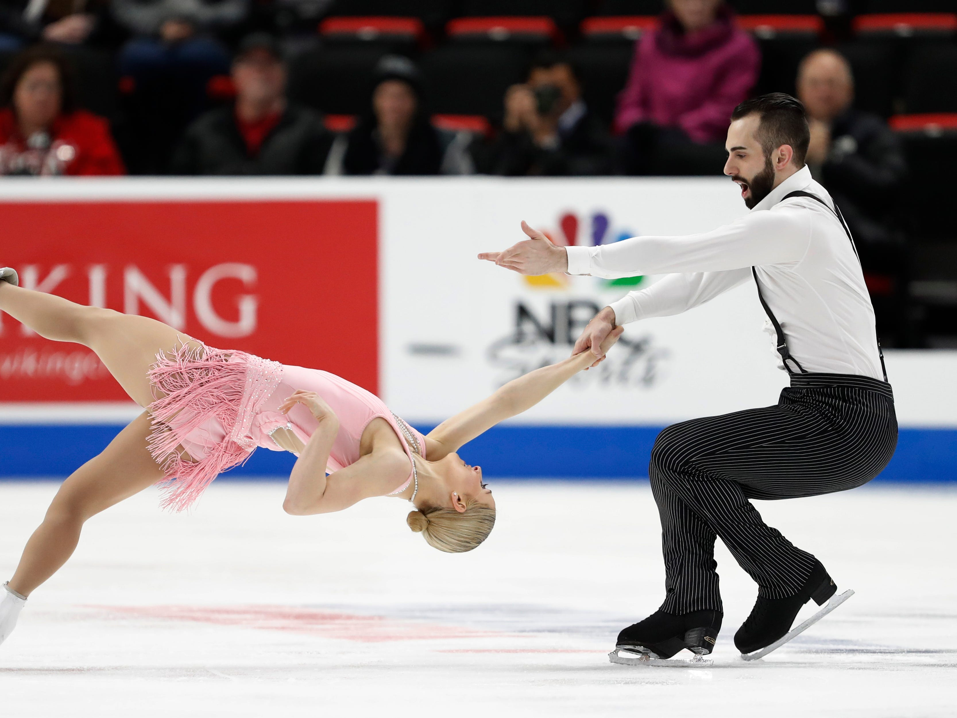Ashley Cain and Timothy LeDuc perform in the pairs short program.