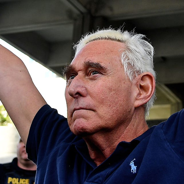 Jan 25, 2019; Fort Lauderdale, FL, USA; American political consultant Roger Stone speaks to the media after being indicted on federal charges at U.S District Courthouse.