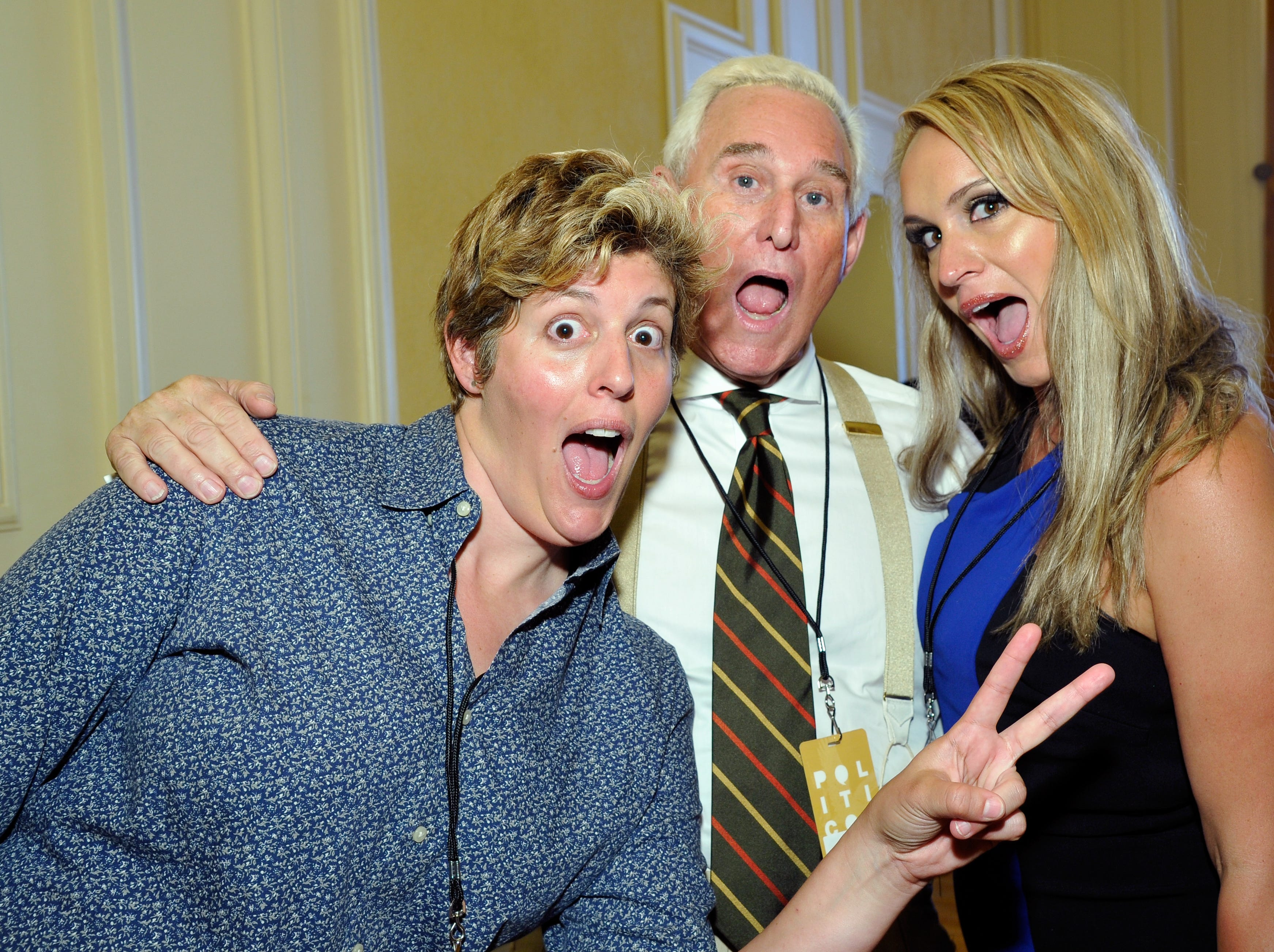 Sally Kohn, Roger Stone and Scottie Nell Hughes at Politicon at Pasadena Convention Center on July 29, 2017 in Pasadena, Calif.