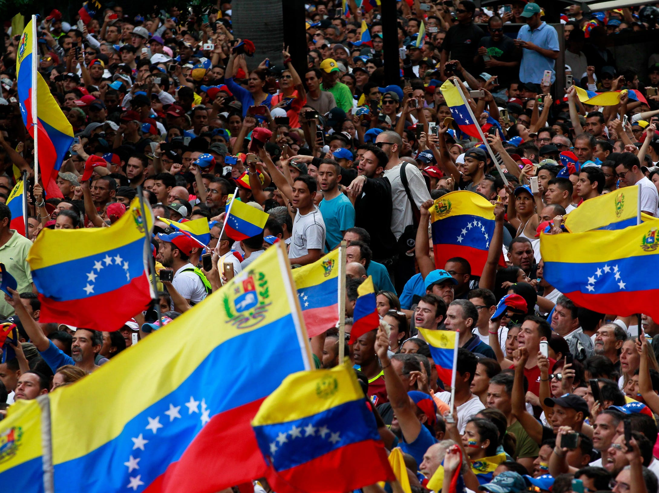 Opponents of Chavism demonstrate against the Government of President Nicolas Maduro in Caracas, Venezuela, Jan. 23, 2019. Chavists and opponents are again demonstrating in the streets of the country to support or question the legitimacy of the head of state, which the Parliament and a large part of the international community do not recognize.
