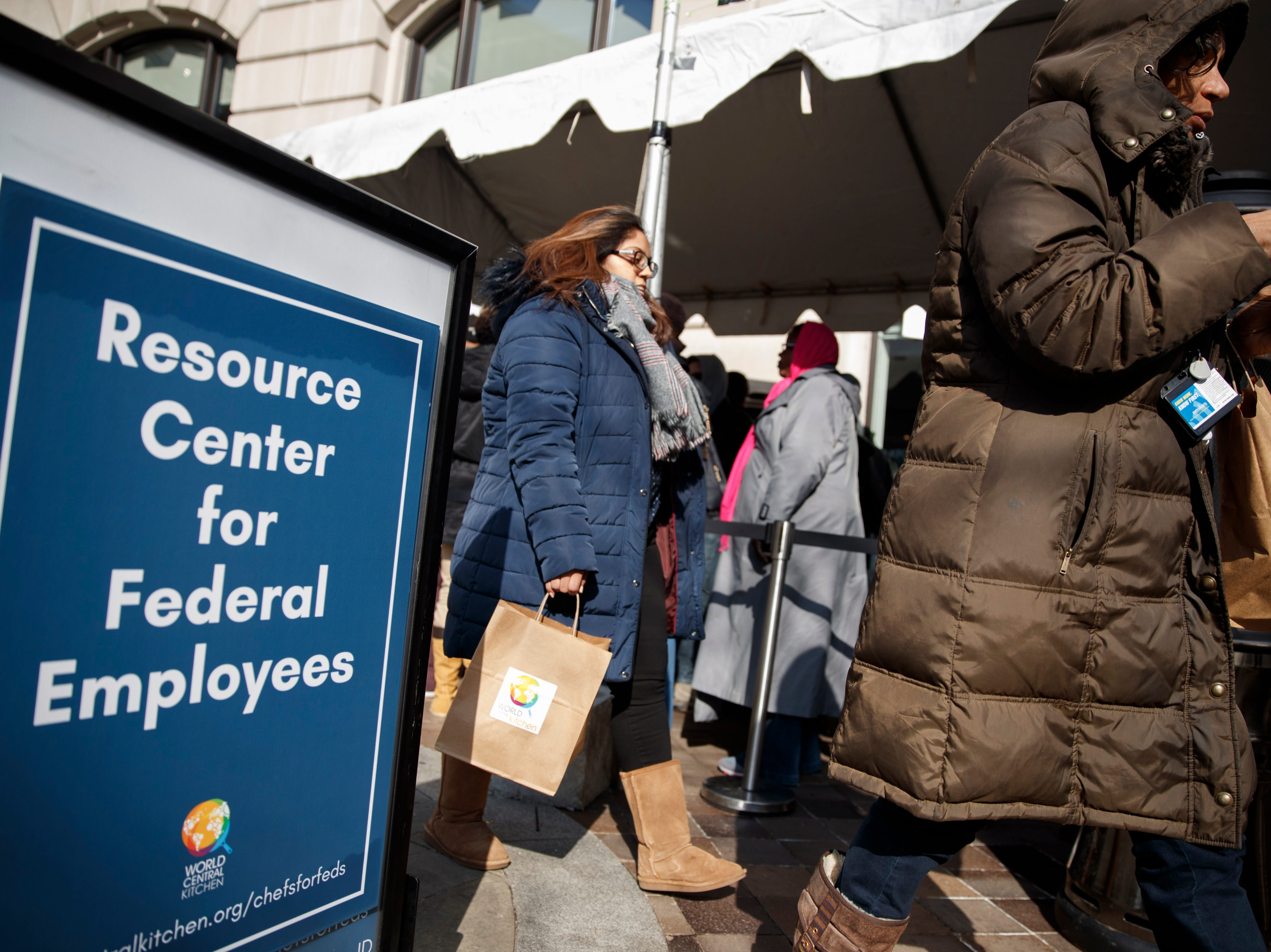 Federal furloughed employees line up to receive free lunch at the World Central Kitchen in Washington on Jan. 25, 2019. Washington DC Mayor Muriel Bowser, with chef Jose Andres, founder of World Central Kitchen, and chef Spike Mendelsohn hand out meals to federal furloughed employees in need.