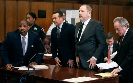Harvey Weinstein, second from right, in court with new attorneys Ron Sullivan, left, and Jose Baez, and former attorney Benjamin Brafman at right, on Jan. 25, 2019.