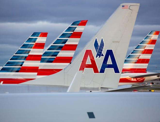 In this file photo, American Airlines tails are seen at Chicago O'Hare International Airport on Nov. 11, 2016.
