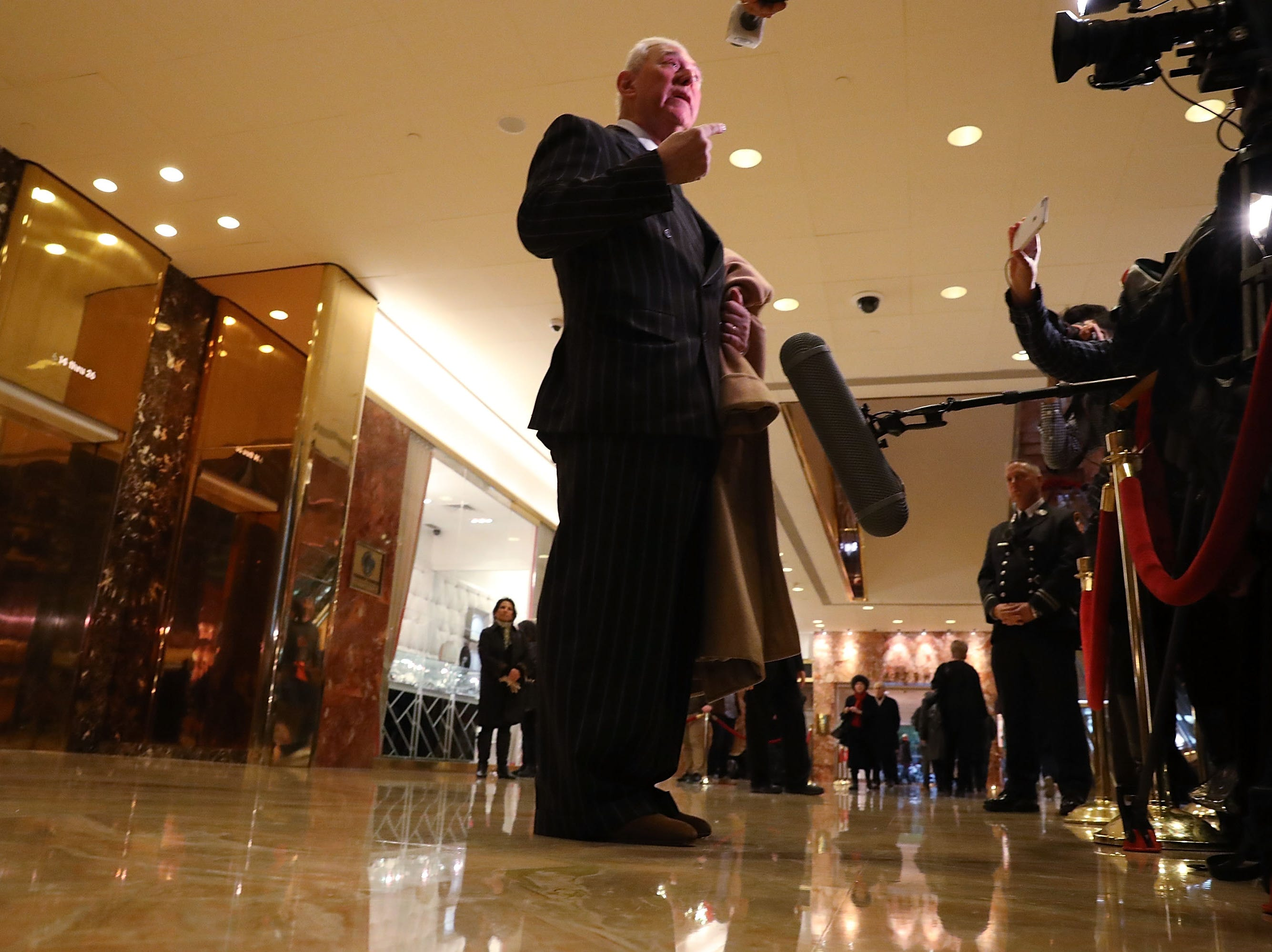 Roger Stone speaks to the media at Trump Tower on Dec. 6, 2016 in New York.