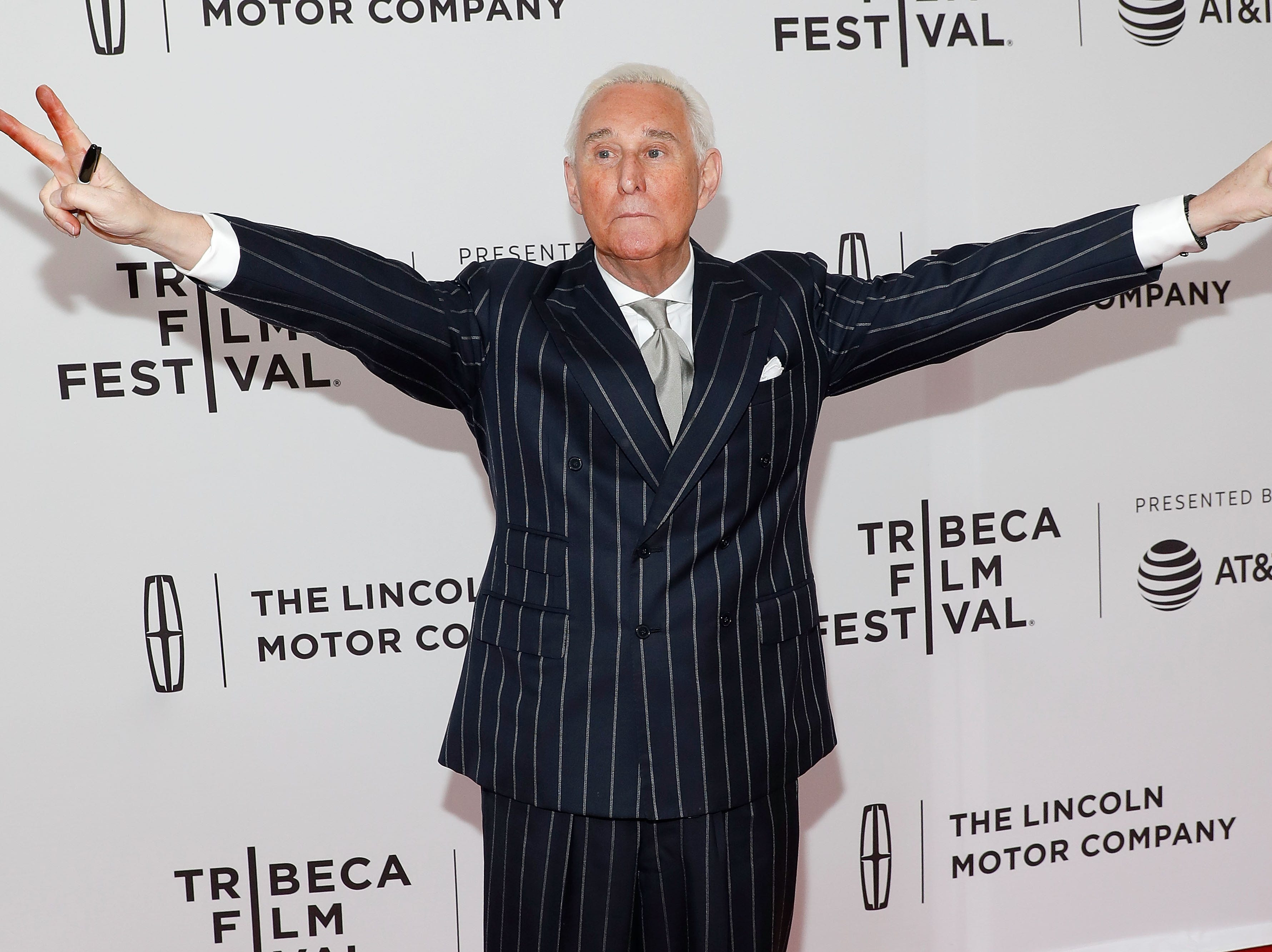"""Political consultant Roger Stone attends the premiere of """"Get Me Roger Stone!"""" during the 2017 Tribeca Film Festival at SVA Theatre on April 23, 2017 in New York."""