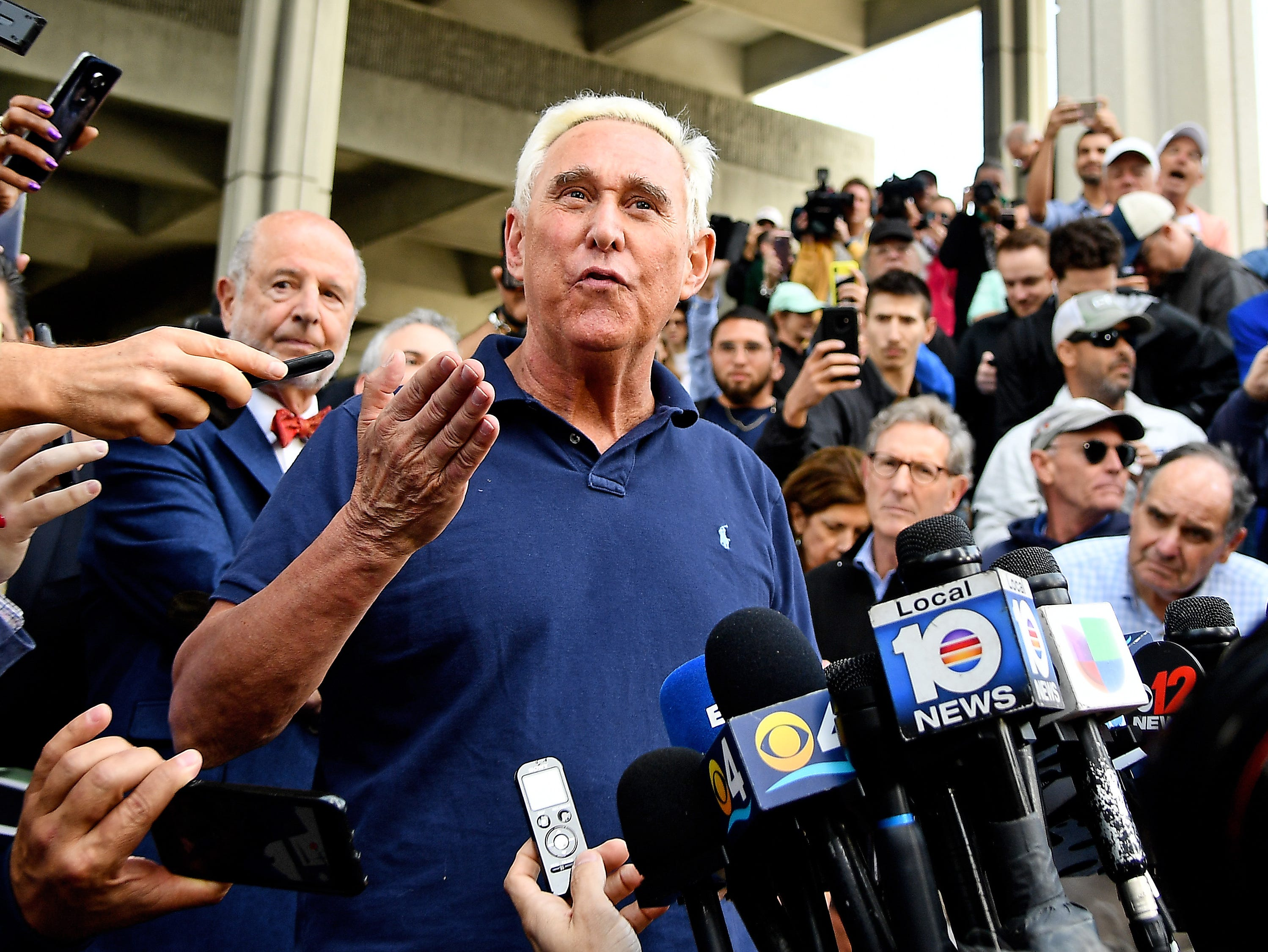American political consultant Roger Stone speaks to the media after being indicted on federal charges at U.S District Courthouse on Jan. 25, 2019 in Fort Lauderdale, Fla.