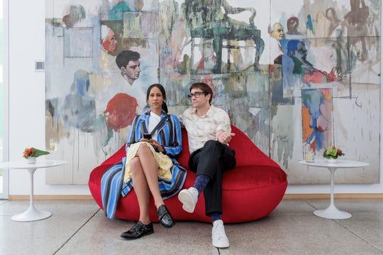 """Zawe Ashton, left, listens to Jake Gyllenhaal's art critiques in """"Velvet Buzzsaw."""""""