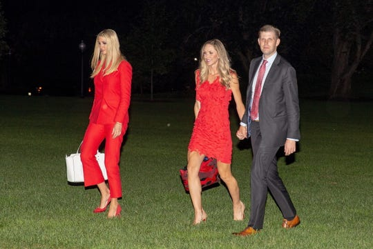 From left, Ivanka Trump, Lara Trump and Eric Trump return to the White House in 2018.