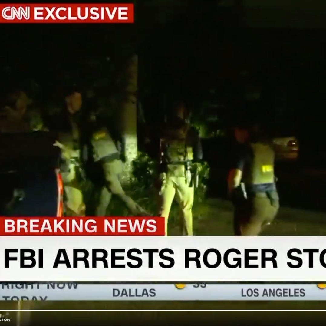 About a dozen FBI agents swarmed Roger Stone's Florida home on Friday.
