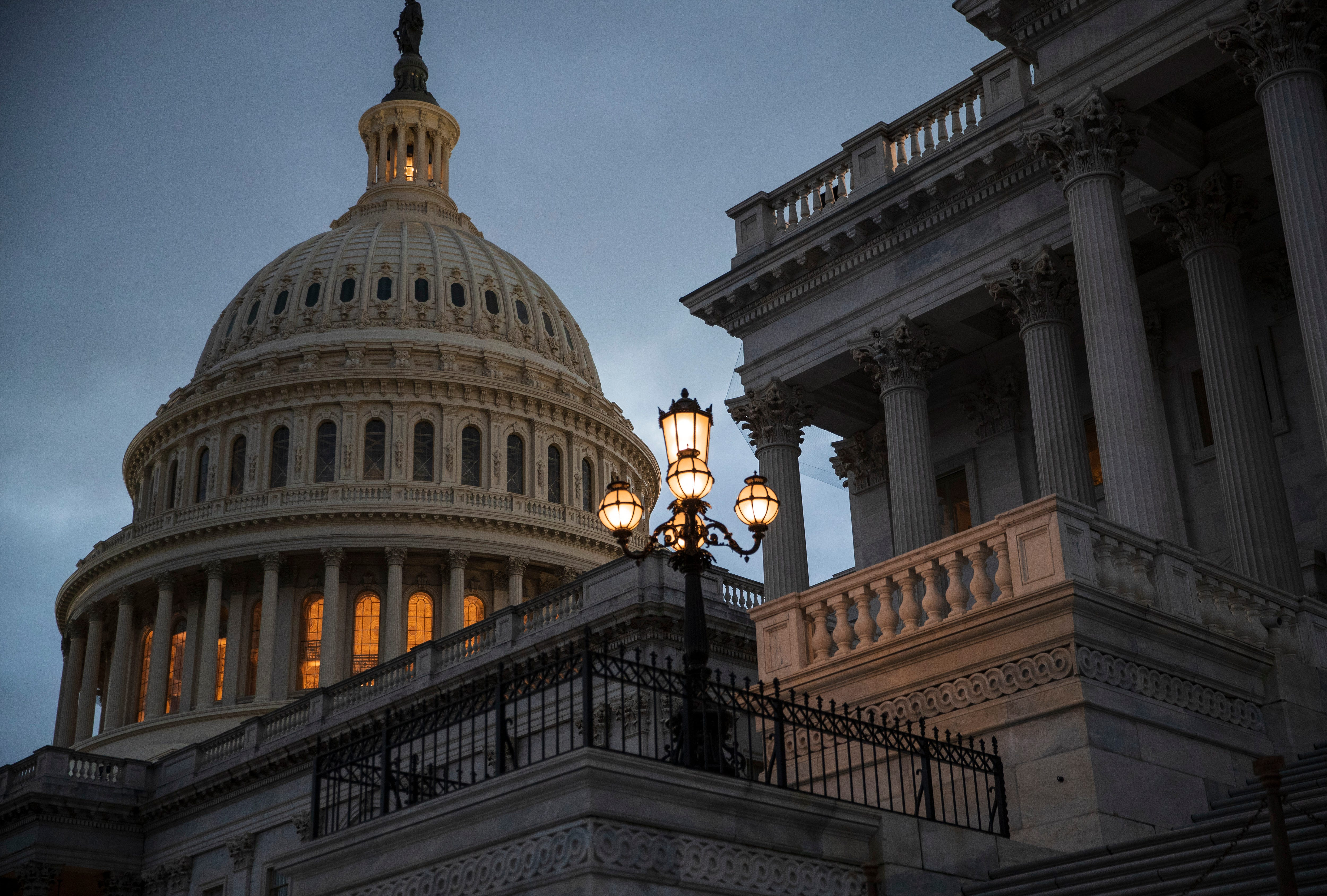 The Capitol Building pictured after the Senate rejected competing Democratic and Republican proposals for ending the partial government shutdown.