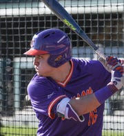 Clemson outfielder Bo Majowski (16) waits on a pitch during practice at Doug Kingsmore Stadium in Clemson Friday.