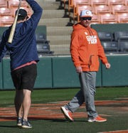Clemson head coach Monte Lee during practice at Doug Kingsmore Stadium in Clemson Friday.