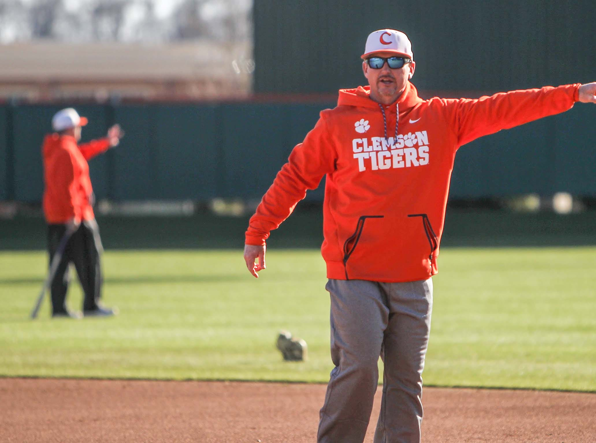 Clemson coach Monte Lee during practice at Doug Kingsmore Stadium in Clemson Friday.