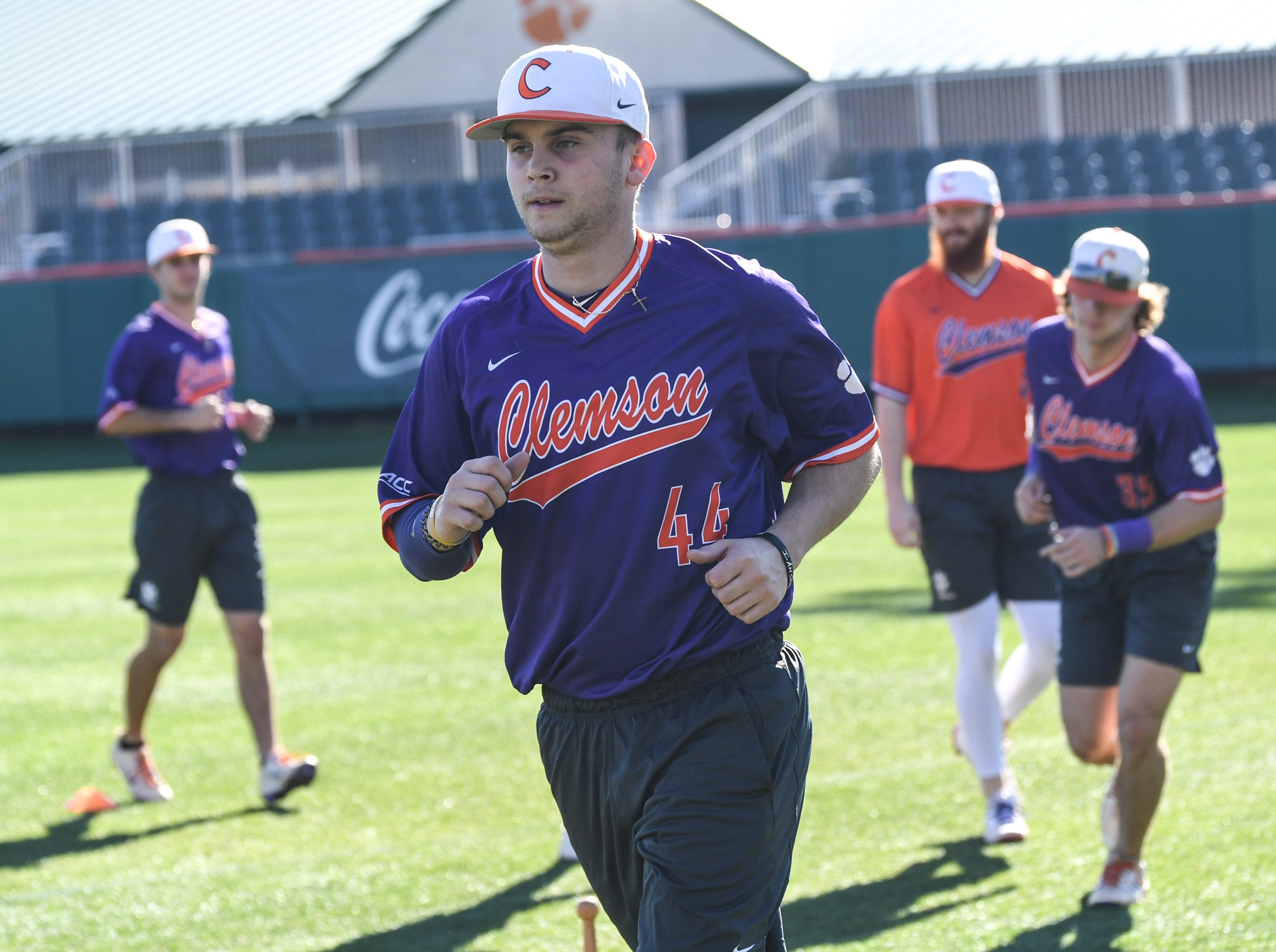 Clemson freshman shortstop Bryar Hawkins jogs during practice at Doug Kingsmore Stadium in Clemson Friday.