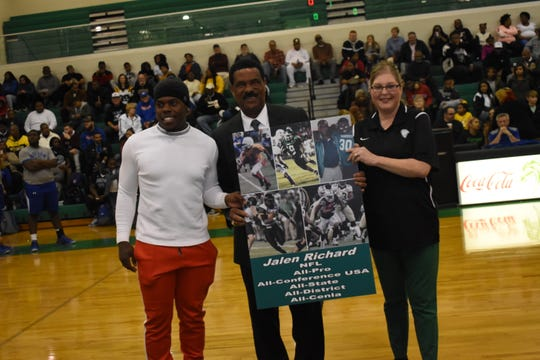 The no. 30 football jersey belonging to Oakland Raiders running back Jalen Richard was retired in a ceremony Friday, Jan. 25,2019 at Peabody Magnet High School. Richard graduated from Peabody in 2012 and from the University of Southern Mississippi in 2016. While at Peabody, Richard made the LSWA Class 4A All-State first team as a junior, and the All-Cenla and All-District first teams as a sophomore and a junior.