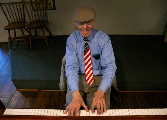 "89-year-old Toms River resident Frank ""Frankie Fingers"" Staknys playing the piano at the Crab's Claw in Lavallette -- where he's entertained diners for 30 years. He's been playing shore spots for half a century."