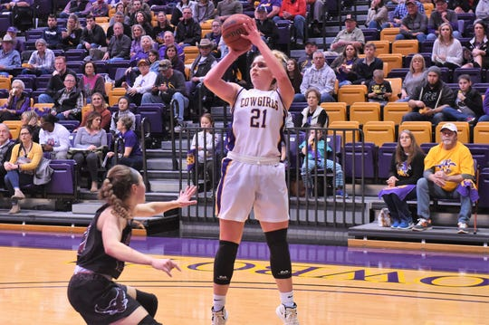 HSU's Kaitlyn Ellis (21) was a spark against McMurry in the season-finale 69-66 win. The Cowgirls enter the ASC tournament on Thursday at noon facing Ozarks in Belton.
