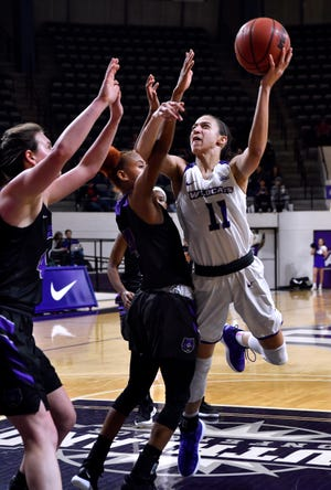 Sara Williamson goes for the basket during Abilene Christian University's women's basketball game against Central Arkansas Saturday Jan. 26, 2019. Final score was 77-70, ACU.