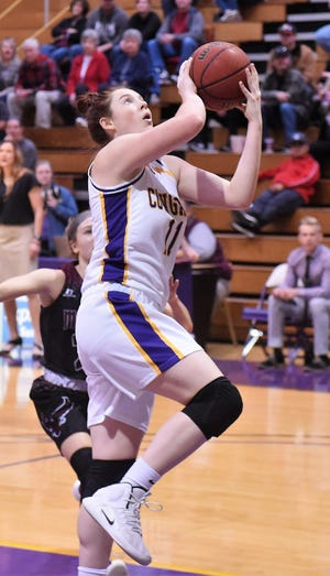 HSU's Keilee Burke (11) stepped up in Saturday's win against crosstown rival McMurry. The freshman from Belton scored a game-high 17 points and had a team-high 13 rebounds for the double-double.