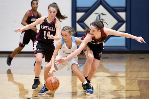 Enka's Peyton Cathey gets fouled by Asheville's Sophie Manning, right, as she brings the ball up the court against her and Emma Smith during their game at Enka High School on Jan. 25, 2019. The Lady Cougars defeated the Sugar Jets 56-52.