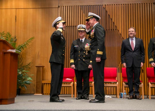BANGOR, Wash. (Jan. 25, 2019) Rear Adm. Blake Converse is relieved by Rear Adm. Douglas Perry as commander of Bangor-based Submarine Group 9. (U.S. Navy photo by Mass Communication Specialist 1st Class Amanda R. Gray/Released)