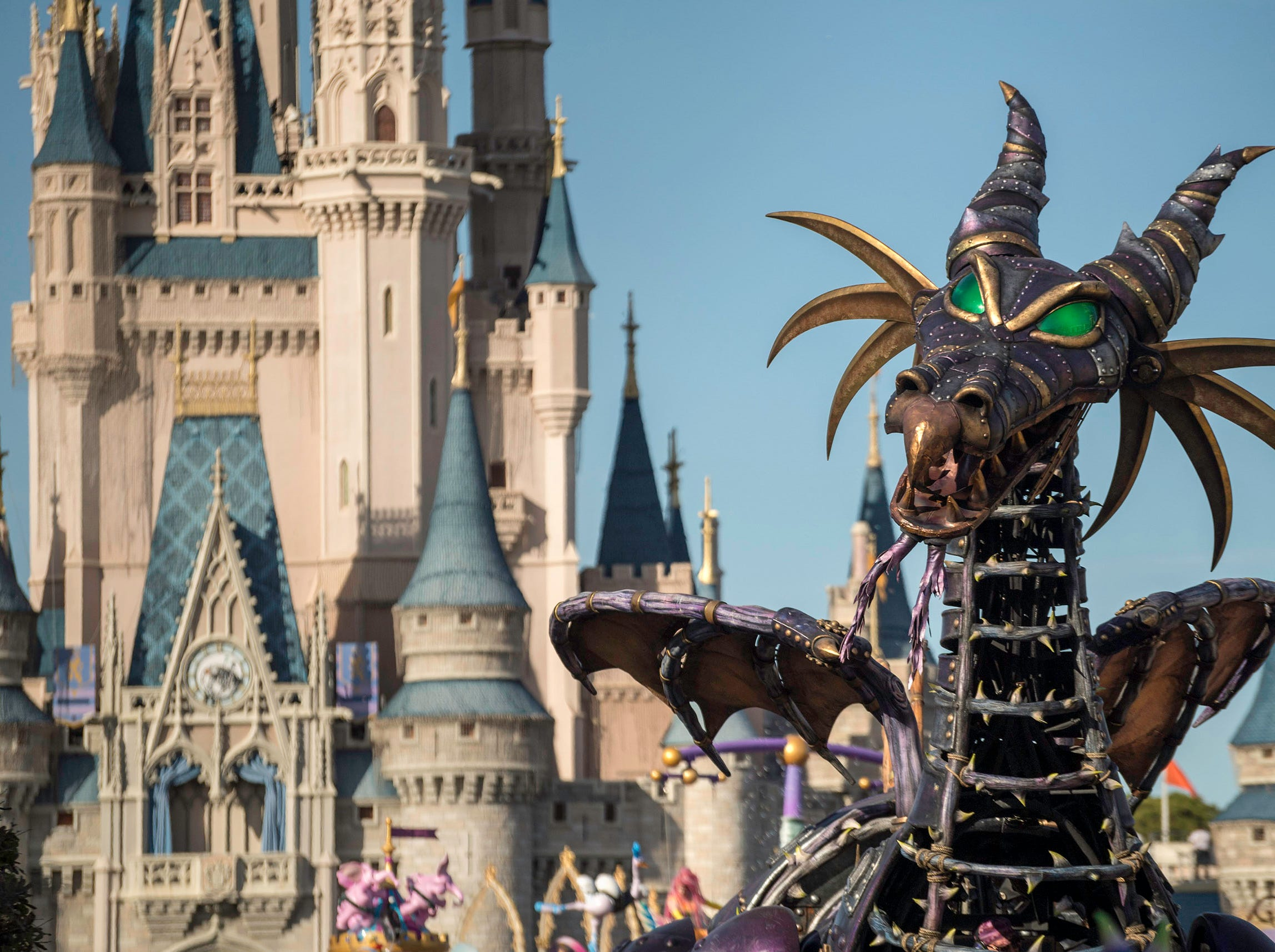 Maleficent returned to Disney's Festival of Fantasy parade at Magic Kingdom Park at Walt Disney World in Lake Buena Vista, Fla., Jan. 25, 2019.