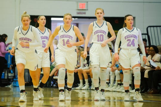Vermont's Carmen Handy (32), Josie Larkins (5), Lauren Handy (14), Hannah Crymble (10) and Rose Caverly (24) take the court after a time out  during the women's basketball game between the Stony Brook Seawolves and the Vermont Catamounts at Patrick Gym on Saturday afternoon January 26, 2019 in Burlington, Vermont.