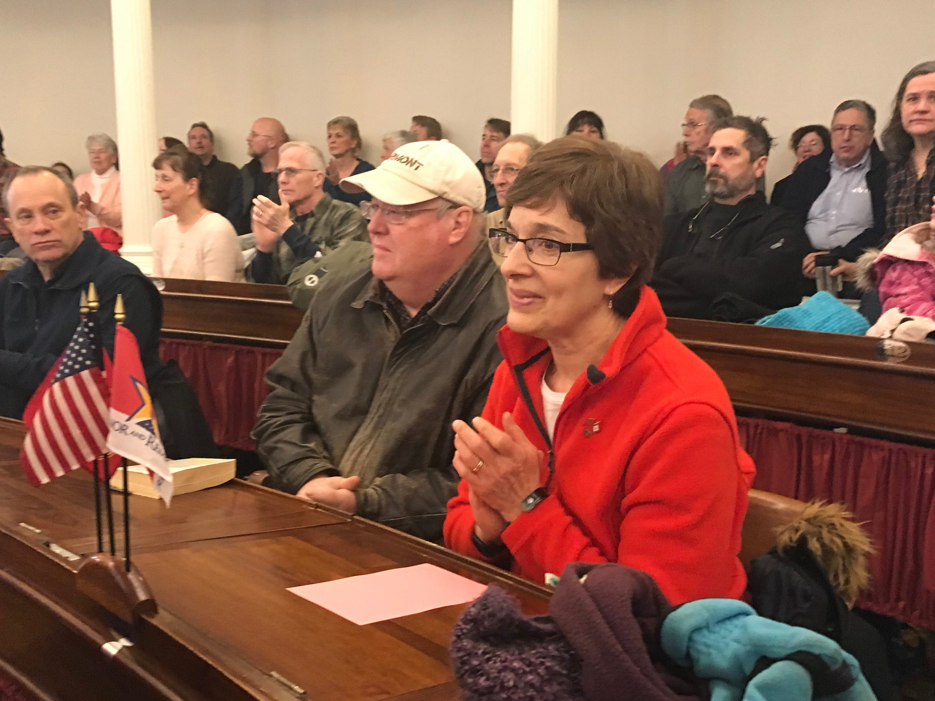 Rep. Vicki Strong, R- Orleans-Caledonia, was introduced as a supporter of Right to Life Vermont and also a gold star mom, on Jan. 26, 2019 at the Vermont State House.