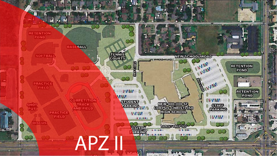 Corpus Christi ISD adjusted its site plan for the new school since hearing the Navy. The switch put Carroll's athletic underneath the same APZ II.
