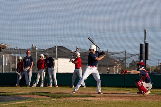 Veterans Memorial players during the first day of baseball practice for the 2019 season at the Veterans Memorial High School baseball field on Friday, Jan. 25, 2019.