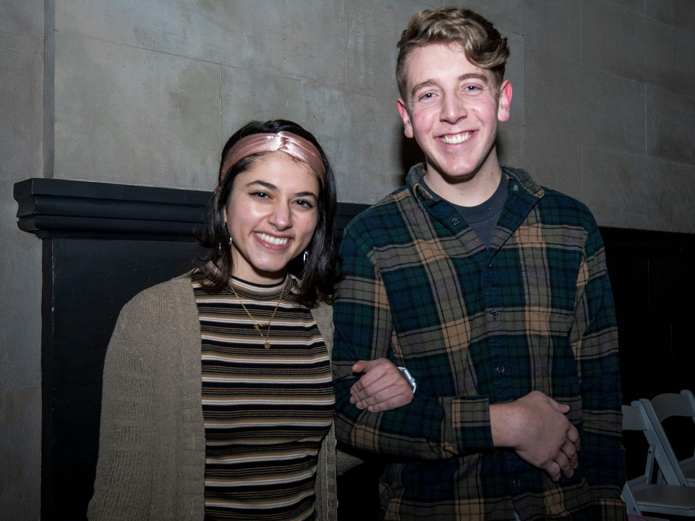 Shivane Chawla and Nic Arnett attend a 90s-themed silent disco during Art After Dark at the Cincinnati Art Museum Friday, January 25, 2019 in Cincinnati, Ohio.