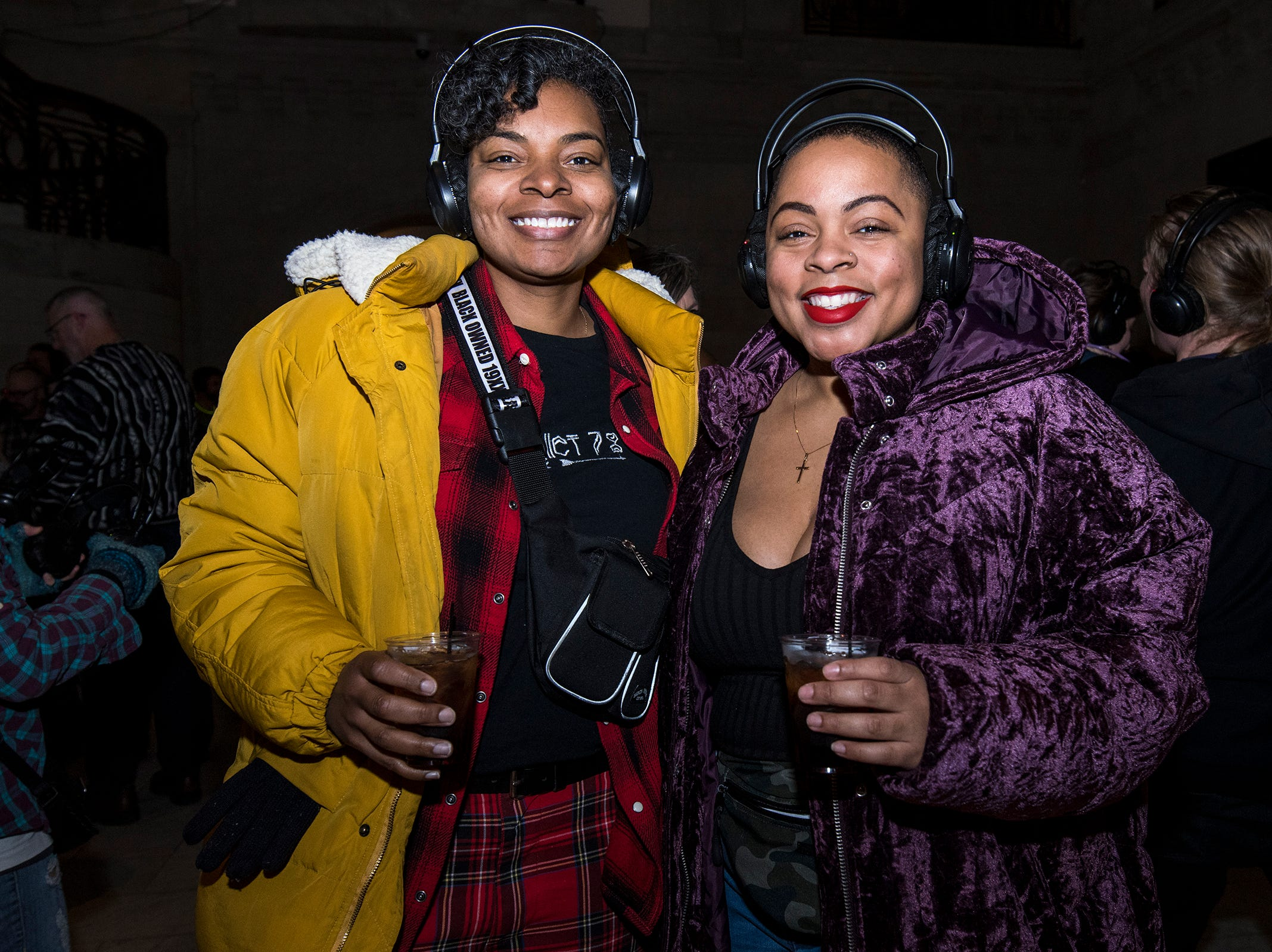 Erika and Brittani Gray attend a 90s-themed silent disco during Art After Dark at the Cincinnati Art Museum Friday, January 25, 2019 in Cincinnati, Ohio.